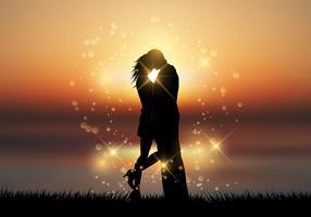 Par, beijando, contra, um, pôr do sol, fundo vetor