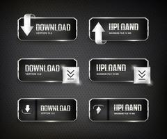 botões da web de download de aço definidos em fundo preto vetor