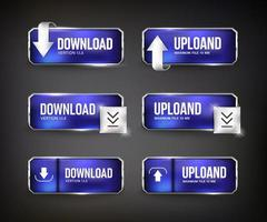 botões da web de download de aço azul em fundo preto vetor