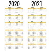 calendário para 2021 2021. modelo de vetor simples