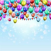 Balões e fundo de bunting vetor