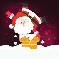 feliz natal feliz papai noel feliz ano novo em fundo de neve vermelho e branco vetor