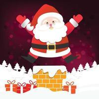 feliz natal, feliz papai noel, feliz ano novo em fundo vermelho e branco de neve vetor