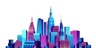 edifício urbano grande cidade arranha-céu pop gradiente vetor