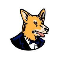 ilustração em estilo xilogravura retrô de um cachorro welsh corgi ou pembroke welsh corgi vestindo um paletó de smoking e gravata olhando para o lado em um fundo branco isolado vetor