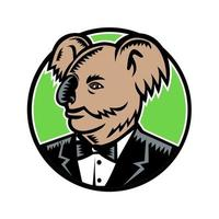 coala usando smoking cor xilogravura vetor