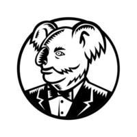 coala olhando para o lado usando smoking vetor