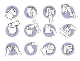 mão segurando e usando papel higiênico e conjunto de lenços de papel vetor