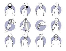 maneira adequada e inadequada de usar máscara cirúrgica para conjunto de proteção contra vírus vetor