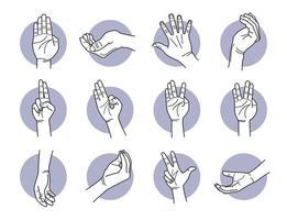 conjunto de gestos de mão e palma da mão vetor