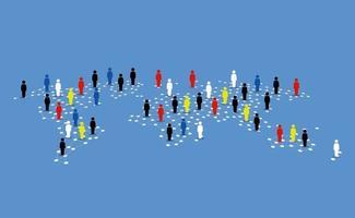 diferentes tipos de pessoas ao redor do mapa mundial vetor