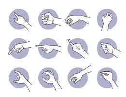 conjunto de gestos de mão apontando e agarrando vetor