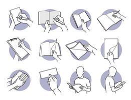 mão segurando papel, nota, livro, lápis, caneta e conjunto de documentos vetor