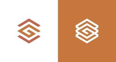 logotipo abstrato da letra g hexágono com seta para cima e para baixo vetor