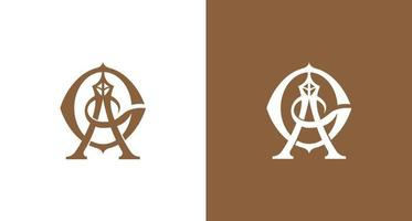 Conjunto de letras de ag e diamantes luxuosos e elegantes, logotipo com monograma de torre vetor