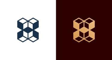 logotipo abstrato da letra h do cubo, inicial h elegante com conjunto de construção vetor