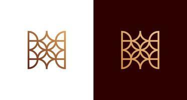 Conjunto de logotipo decorativo abstrato de letra h com estrela, folhas, padrão de linha geométrica vetor