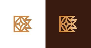 logotipo abstrato de luxo e letras douradas com conjunto de elementos estrela vetor