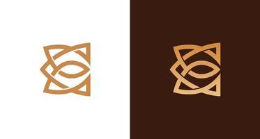 Conjunto de logotipo de letra e luxo e elegante vetor