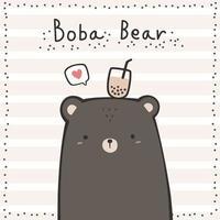 Fofo urso de pelúcia marrom com chá de boba na cabeça desenho animado doodle cartão vetor