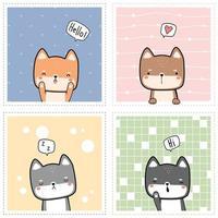 Fofinho rechonchudo shiba inu cachorro cachorrinho saudação cartoon doodle conjunto de cartas vetor
