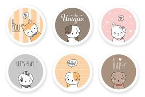 cão fofo cachorro amigo cumprimentando desenho animado doodle ícone conjunto de emblemas vetor