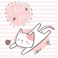 gato fofo dormindo dia preguiçoso desenho animado doodle papel de parede rosa listrado vetor