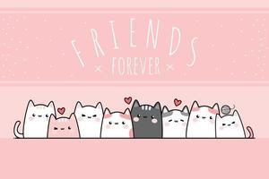 gatinho fofo gato gordinho saudação desenho animado doodle fundo rosa pastel vetor