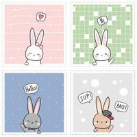 coelho fofo coelho saudação cartoon doodle conjunto de cartão vetor