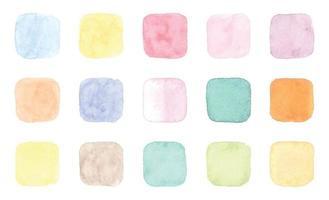 emblemas de aquarela em cores diferentes vetor