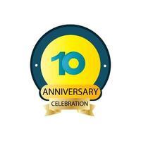 Ilustração de design de modelo vetorial celebração de 10 anos vetor