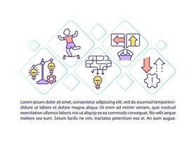 ícones de linha de conceito de gestão de risco com texto vetor