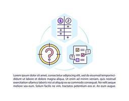 ícones de linha de conceito de avaliação de problema com texto vetor