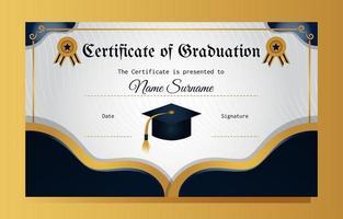 modelo de certificado de formatura em azul e dourado elegante vetor