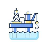 ícone de cor rgb da plataforma de petróleo offshore vetor