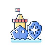 ícone de cor rgb de segurança marítima vetor