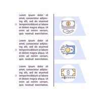 depósito mínimo e ícones de linha de conceito de comissão zero com texto vetor