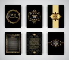 Modelos de brochura e menu de ouro e preto vetor