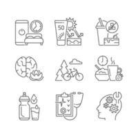 conjunto de ícones lineares de desenvolvimento de hábitos saudáveis vetor