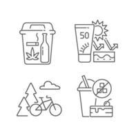 conjunto de ícones lineares de hábitos saudáveis vetor