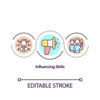 influenciando o ícone do conceito de habilidades vetor