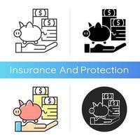 ícone de seguro de proteção de pagamento vetor