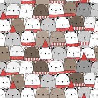 urso de pelúcia fofo e desenho de urso polar doodle padrão sem emenda vetor