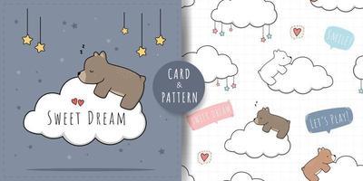 fofo urso de pelúcia dormindo e abraçando o cartão do doodle do desenho da nuvem e padrão sem emenda vetor