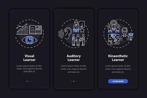 estilos de aprendizagem integrando a tela da página do aplicativo móvel com conceitos vetor