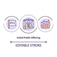 ícone do conceito de oferta pública inicial vetor