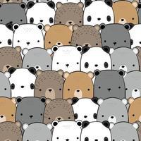 urso de pelúcia panda fofo e desenho de urso polar doodle padrão sem emenda vetor
