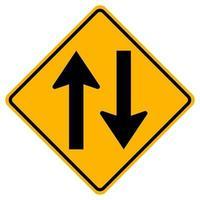 sinais de alerta, tráfego de mão dupla em fundo branco vetor