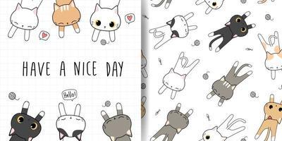 cartão de doodle de gatinho gatinho fofo e pacote de padrão sem emenda vetor