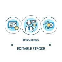 ícone de conceito de corretor online vetor